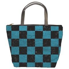 SQUARE1 BLACK MARBLE & TEAL LEATHER Bucket Bags