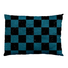 SQUARE1 BLACK MARBLE & TEAL LEATHER Pillow Case