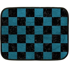 SQUARE1 BLACK MARBLE & TEAL LEATHER Fleece Blanket (Mini)