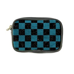 SQUARE1 BLACK MARBLE & TEAL LEATHER Coin Purse