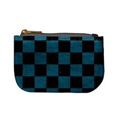 SQUARE1 BLACK MARBLE & TEAL LEATHER Mini Coin Purses