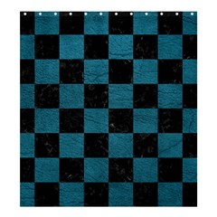 SQUARE1 BLACK MARBLE & TEAL LEATHER Shower Curtain 66  x 72  (Large)