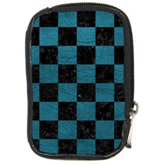 SQUARE1 BLACK MARBLE & TEAL LEATHER Compact Camera Cases