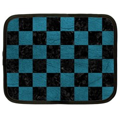 SQUARE1 BLACK MARBLE & TEAL LEATHER Netbook Case (XXL)