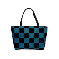 SQUARE1 BLACK MARBLE & TEAL LEATHER Shoulder Handbags