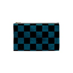 SQUARE1 BLACK MARBLE & TEAL LEATHER Cosmetic Bag (Small)