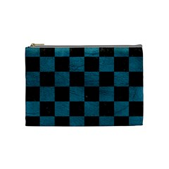 SQUARE1 BLACK MARBLE & TEAL LEATHER Cosmetic Bag (Medium)