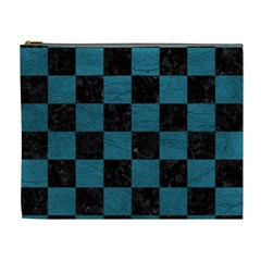 SQUARE1 BLACK MARBLE & TEAL LEATHER Cosmetic Bag (XL)