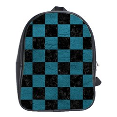 SQUARE1 BLACK MARBLE & TEAL LEATHER School Bag (Large)