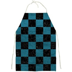 SQUARE1 BLACK MARBLE & TEAL LEATHER Full Print Aprons