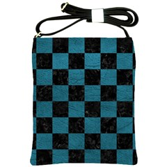 SQUARE1 BLACK MARBLE & TEAL LEATHER Shoulder Sling Bags