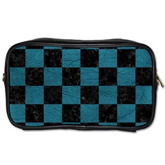 SQUARE1 BLACK MARBLE & TEAL LEATHER Toiletries Bags 2-Side