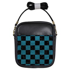 SQUARE1 BLACK MARBLE & TEAL LEATHER Girls Sling Bags