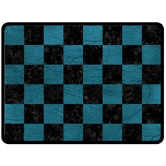 SQUARE1 BLACK MARBLE & TEAL LEATHER Fleece Blanket (Large)