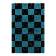 SQUARE1 BLACK MARBLE & TEAL LEATHER Shower Curtain 48  x 72  (Small)
