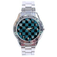 SQUARE1 BLACK MARBLE & TEAL LEATHER Stainless Steel Analogue Watch