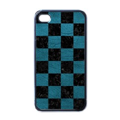 SQUARE1 BLACK MARBLE & TEAL LEATHER Apple iPhone 4 Case (Black)