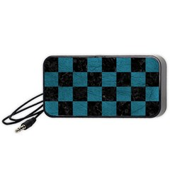 SQUARE1 BLACK MARBLE & TEAL LEATHER Portable Speaker