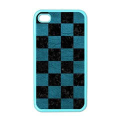 SQUARE1 BLACK MARBLE & TEAL LEATHER Apple iPhone 4 Case (Color)