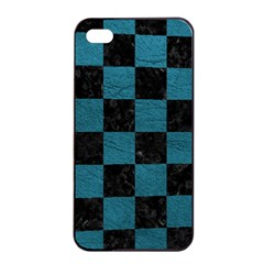 SQUARE1 BLACK MARBLE & TEAL LEATHER Apple iPhone 4/4s Seamless Case (Black)
