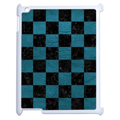 SQUARE1 BLACK MARBLE & TEAL LEATHER Apple iPad 2 Case (White)