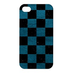 SQUARE1 BLACK MARBLE & TEAL LEATHER Apple iPhone 4/4S Premium Hardshell Case