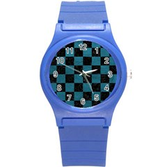 SQUARE1 BLACK MARBLE & TEAL LEATHER Round Plastic Sport Watch (S)