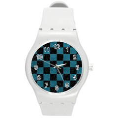 SQUARE1 BLACK MARBLE & TEAL LEATHER Round Plastic Sport Watch (M)