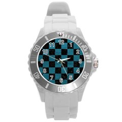 SQUARE1 BLACK MARBLE & TEAL LEATHER Round Plastic Sport Watch (L)