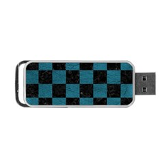 SQUARE1 BLACK MARBLE & TEAL LEATHER Portable USB Flash (One Side)