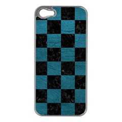 SQUARE1 BLACK MARBLE & TEAL LEATHER Apple iPhone 5 Case (Silver)