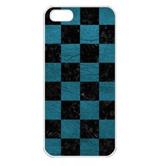 SQUARE1 BLACK MARBLE & TEAL LEATHER Apple iPhone 5 Seamless Case (White)