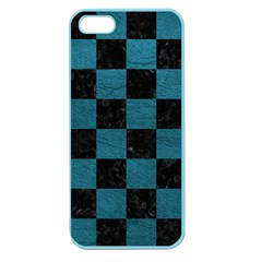 SQUARE1 BLACK MARBLE & TEAL LEATHER Apple Seamless iPhone 5 Case (Color)