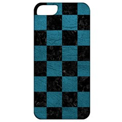 SQUARE1 BLACK MARBLE & TEAL LEATHER Apple iPhone 5 Classic Hardshell Case