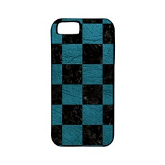 SQUARE1 BLACK MARBLE & TEAL LEATHER Apple iPhone 5 Classic Hardshell Case (PC+Silicone)