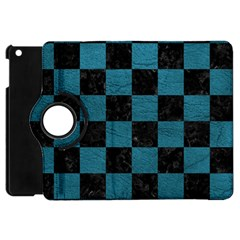 SQUARE1 BLACK MARBLE & TEAL LEATHER Apple iPad Mini Flip 360 Case