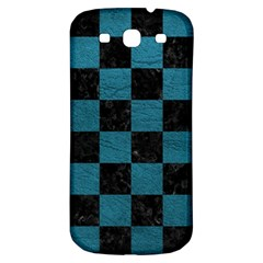 SQUARE1 BLACK MARBLE & TEAL LEATHER Samsung Galaxy S3 S III Classic Hardshell Back Case