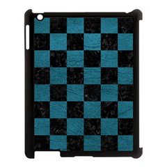 SQUARE1 BLACK MARBLE & TEAL LEATHER Apple iPad 3/4 Case (Black)