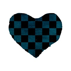 SQUARE1 BLACK MARBLE & TEAL LEATHER Standard 16  Premium Heart Shape Cushions