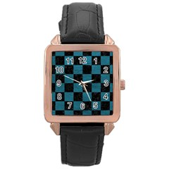 SQUARE1 BLACK MARBLE & TEAL LEATHER Rose Gold Leather Watch