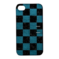SQUARE1 BLACK MARBLE & TEAL LEATHER Apple iPhone 4/4S Hardshell Case with Stand