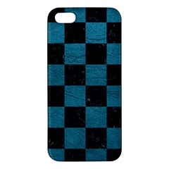 SQUARE1 BLACK MARBLE & TEAL LEATHER Apple iPhone 5 Premium Hardshell Case