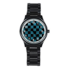 SQUARE1 BLACK MARBLE & TEAL LEATHER Stainless Steel Round Watch