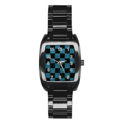 SQUARE1 BLACK MARBLE & TEAL LEATHER Stainless Steel Barrel Watch