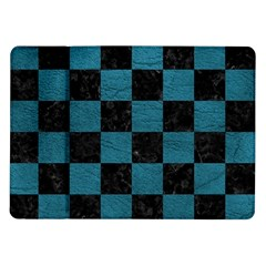 SQUARE1 BLACK MARBLE & TEAL LEATHER Samsung Galaxy Tab 10.1  P7500 Flip Case