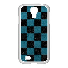SQUARE1 BLACK MARBLE & TEAL LEATHER Samsung GALAXY S4 I9500/ I9505 Case (White)