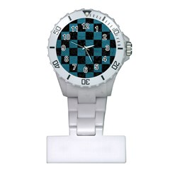 SQUARE1 BLACK MARBLE & TEAL LEATHER Plastic Nurses Watch