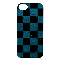 SQUARE1 BLACK MARBLE & TEAL LEATHER Apple iPhone 5S/ SE Hardshell Case