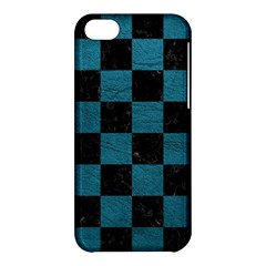 SQUARE1 BLACK MARBLE & TEAL LEATHER Apple iPhone 5C Hardshell Case