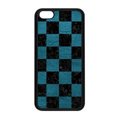 SQUARE1 BLACK MARBLE & TEAL LEATHER Apple iPhone 5C Seamless Case (Black)